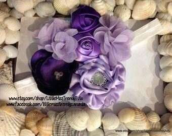 Couture Purple Headband, Handmade Purple Flower Headband, Lavender Handmade Flower Headband, Child's Purple Headband