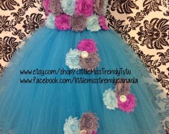 Turquoise Flower Girl Dress, Turquoise Tutu Dress, Flower  Girl Tutu Dress, Turquoise Birthday Tutu, Blue Flower Girl Tutu Dress