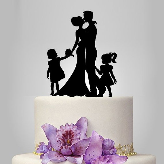 acrylic wedding cake topper silhouette bride and by walldecal76