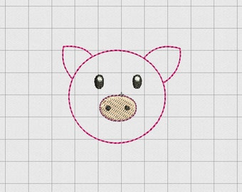 """Pig Face Felt Embroidery Design in 1"""" 1.5"""" and 2"""" Sizes"""