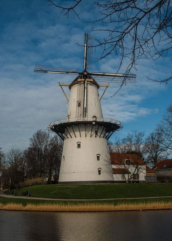 Architecture Photography, Dutch Windmill, Blue Green White Red Yellow, Rustic Landscape Print, Fine Art Photography, 5x7 8x10, Home Decor