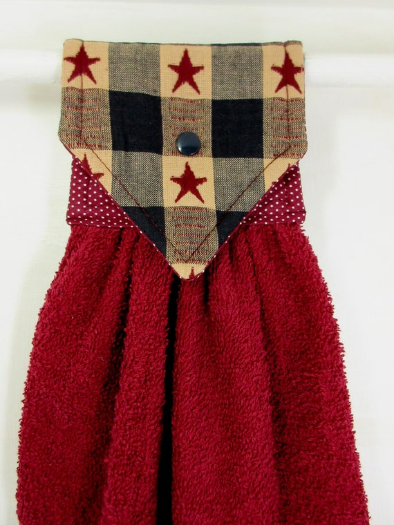 Hanging Hand Towel Primitive Americana Hanging Towel Country Star Kitchen Decor Mother S Day