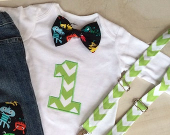 Friendly monsters Baby Boy 1st Birthday onesie with REAL Suspenders includes Bow Tie, CuStom Number,  Add knee patch & cuffed pants