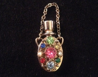 Vintage Gold Plated Bejeweled Mini Perfume Bottle with Chain
