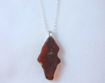 "Nova Scotia South Shore amber sea glass pendant with silverplate bail and 18"" chain (PA11)"