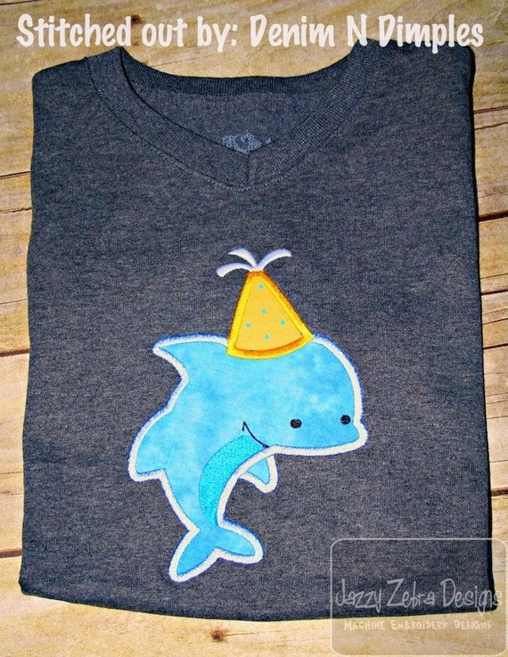Dolphin Birthday Appliqué Embroidery Design - Birthday applique design