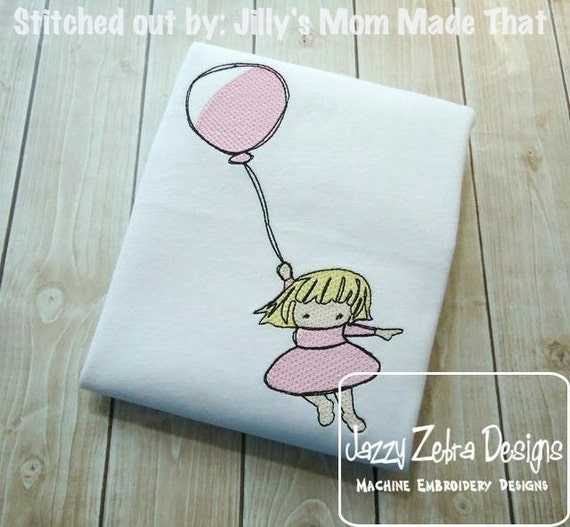 Little Girl with Balloon Sketch Embroidery Design - birthday Sketch Embroidery Design - girl Sketch Embroidery Design