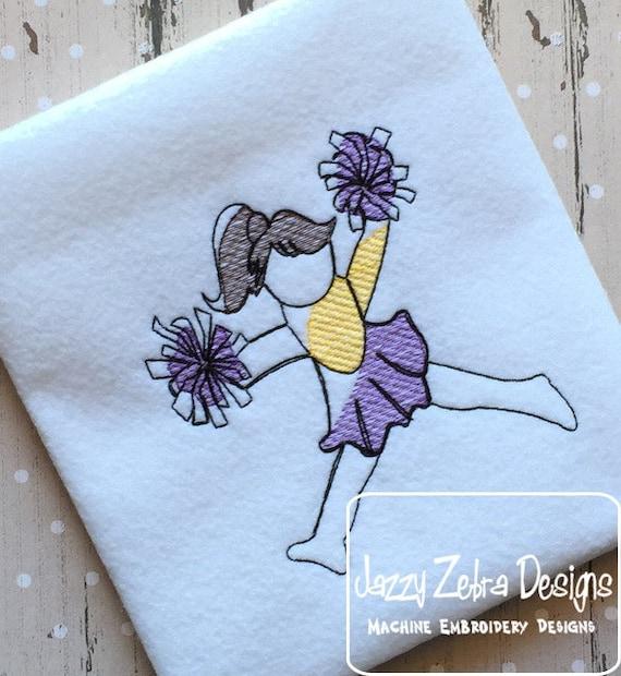 Cheerleader Sketch Embroidery Design - cheer Sketch Embroidery Design - cheerleading Sketch Embroidery Design