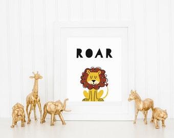 DIGITAL Lion Roar Print, Modern Wall Decor, Animal Playroom Poster, Modern Monochrome Gender Neutral Nursery - ANY SIZE