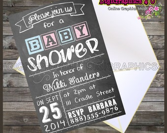Printable Personalized Chalkboard Themed Baby Shower Invitation Digital File for Boy or Girl