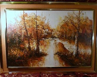 Vintage Impressionist Trees Bolton Landscape Oil Painting Original Abstract