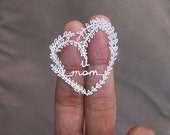 Shipping Free - Love You, Mom - Miniature Papercut - mothers day - handmade - paper craft - paper cutting - paperart - mom - gift -