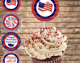 DIY Printable 4th of July Cupcake Toppers - Instant Download