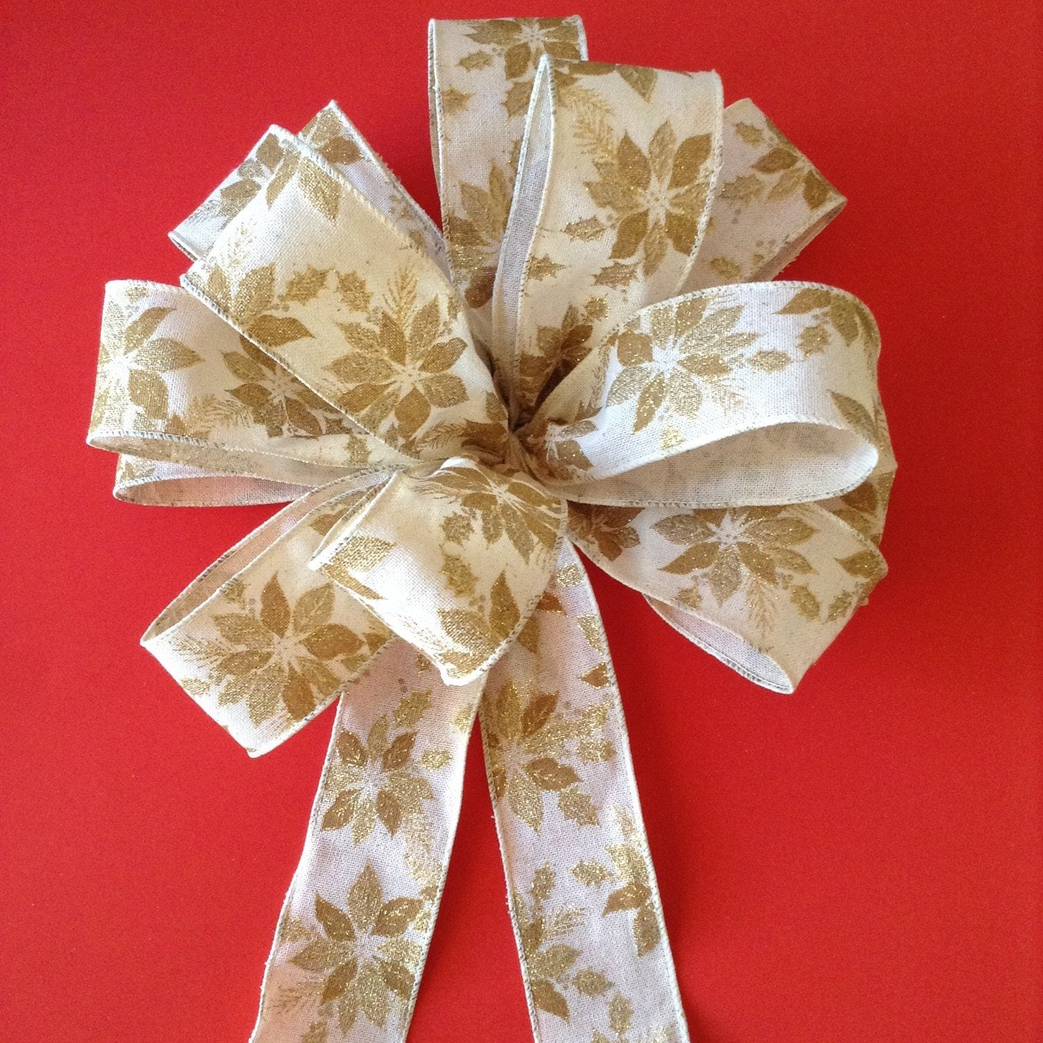 christmas gold poinsettia bows christmas tree bows. Black Bedroom Furniture Sets. Home Design Ideas