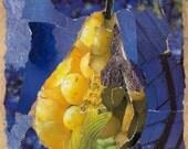 Indigo Spring. Pear Design Decorative Ceramic Art Tile Coaster. Paper Collage Design. 4.25 inches.