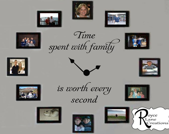 Time Spent with Family Decal #2 - Time Spent with Family Clock Decal #2- Family Clock Decal- Time Spent with Family Wall Decal