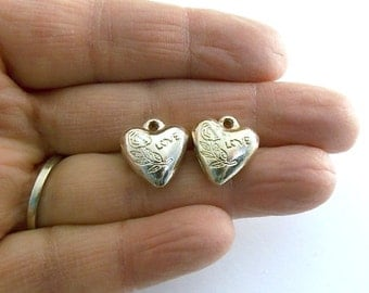 Beads 2 Silver Metal Puffy Heart Charms 14 x 14mm