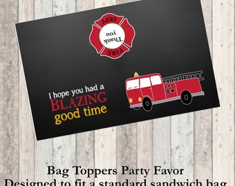 Firetruck Birthday Party Favor Bag Topper - Decorations