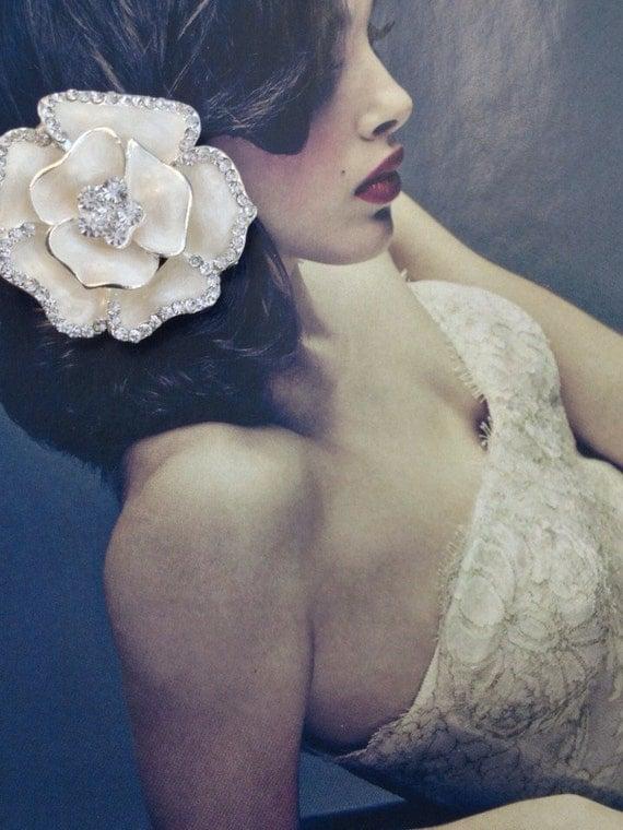Wedding Hair Comb ,Rhinestone Rose Hair Comb, Hair Ornament ,Wedding Accessory, Bridal Hair Comb, Bridesmaid Comb,   -SERENITY Hair Clip