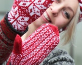 Red knit gloves - mittens knitted arm warmers - red white women accessories - winter knitting snowflakes Scandinavian patterned gloves gift