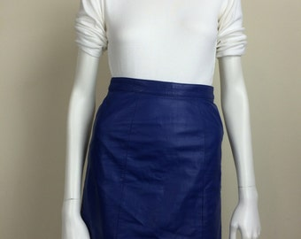electric blue leather miniskirt 80s
