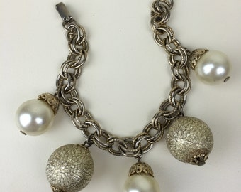 oversized statement gold pearl charm bracelet 60's