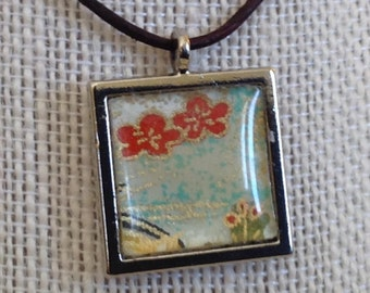 one of a kind handmade japanese paper  and resin necklace 8