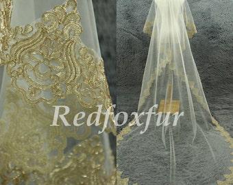 Gold edges veil 1 tier Cathedral Veil Alencon lace veil Ivory Bridal Veil Lace edge veil Wedding dress veil Wedding Accessories No comb
