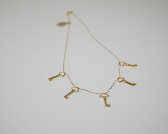 Vintage Gold Filled 5 Key Necklace