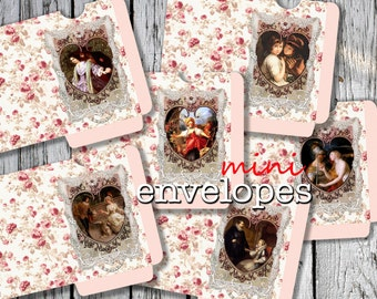 LOVE ME  -  Printable 6 Mini Envelopes Journal pockets Download Digital Collage Sheet  - Print and Cut