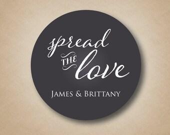 Spread the Love Favor Stickers Jam Jar Wedding Favors Jelly Jar Labels Chalkboard Wedding Stickers Mason Jar Sticker Labels Personalized