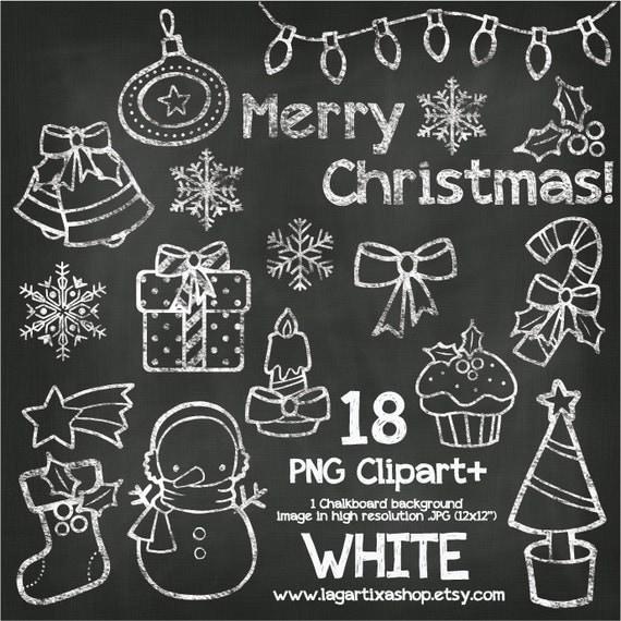 Pizarra Navidad Gises de Colores Clipart Mono Nieve Regalos