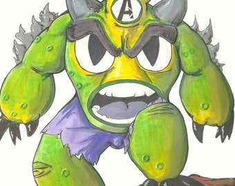 ORIGINAL Fredzilla/Hulk marker sketch