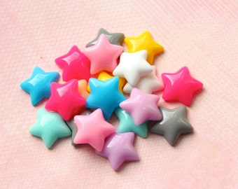 Puffy Star Cabochons Flatback Embellishments Kawaii Decoden Resin
