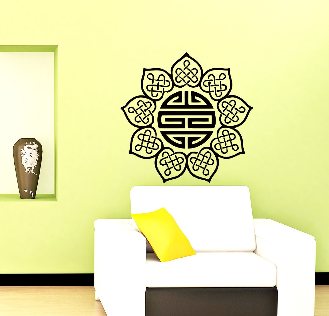 Stickers mandala motif indien yoga oum om signe decal vinyl for Chambre yoga