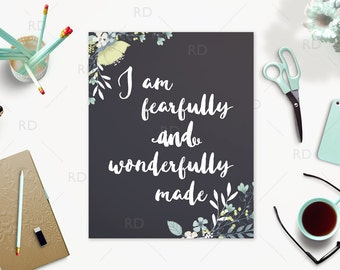 I am fearfully and wonderfully made PRINTABLE / Psalm 139:14 / Bible verse art / Floral Wall art / Scripture art / Instant download