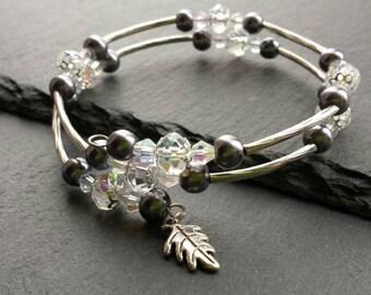 Memory Wire Wrap Bracelet, Coil Bracelet, Stacking Bracelet, Beaded Bracelet, Crystal Bracelet