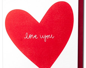 Love You Letterpress Printed Card