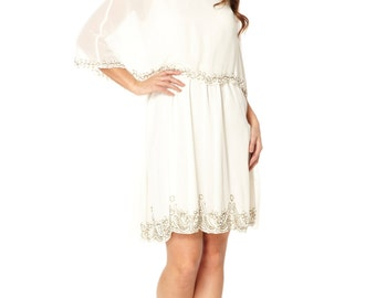 US26 UK30 AUS30 EU58 Cream White Plus Size Cape Dress Vintage inspired 1920s Flapper Great Gatsby Beaded Art DecoWedding Bridesmaid Dress