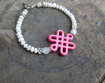 Energy Charged Pink Reconstructed Turquoise Endless Eternal Knot and White Shell Beaded Bracelet with Quartz accents