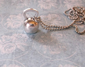 kettlebell necklace  crossfit jewelry silver or gun metal  kettlebell necklace