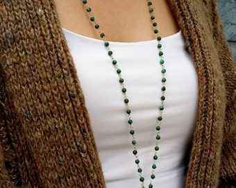 Malachite statement necklace. Gemstone wire wrapped necklace. Green stone.