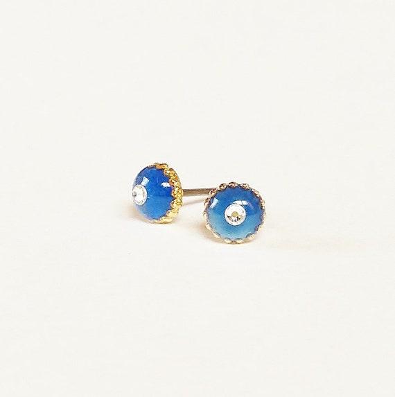 blue stud earrings sparkly small blue stud earrings blue