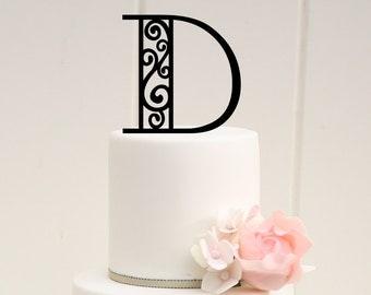 Monogram Wedding Cake Topper Scroll Design 6 Inch Personalized with YOUR Initial