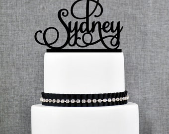 Personalized First Name Topper, Script First Name Cake Topper, Elegant Name Cake Topper- (T080)