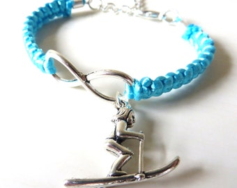 Love Skiing Athletic Charm Infinity Bracelet Skiier Charm You Choose Your Cord Color(s)