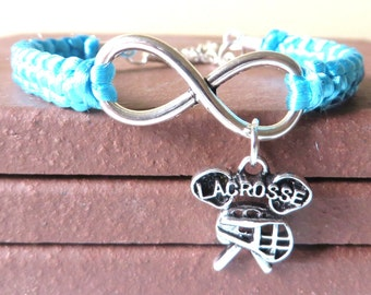 Love Lacrosse Athletic Charm Infinity Bracelet Lacrosse Charm You Choose Your Cord Color(s) Optional Hand Stamped Number Charm