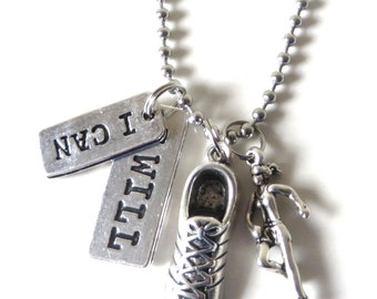 I Can I Will Runner Sneaker Marathon Cross Country 5k 10k Charm Necklace YOU Choose Necklace Length and Ball Chain Size