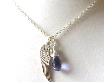 Angel Wing Purple Awareness Loss Pendant Necklace