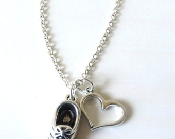 Love to Run Floating Heart Running Sneaker Charm Necklace You Choose Necklace Length